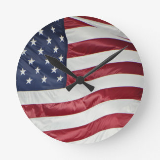 American Flag,Star Spangled Banner red white blue Round Clock