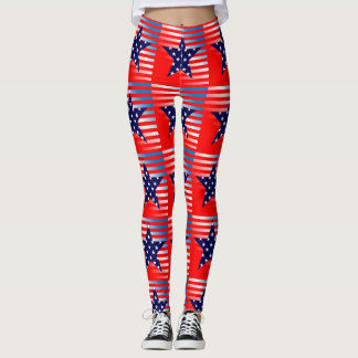 American Flag, Stars and Stripes Leggings