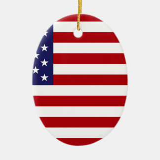 American Flag - Stars and Stripes - Old Glory Ceramic Oval Ornament
