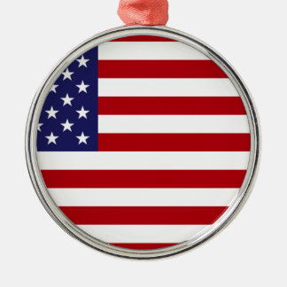 American Flag - Stars and Stripes - Old Glory Silver-Colored Round Ornament
