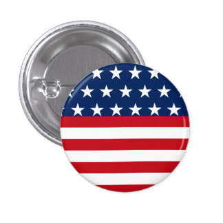 American Flag Stars and Stripes Patriotic 1 Inch Round Button