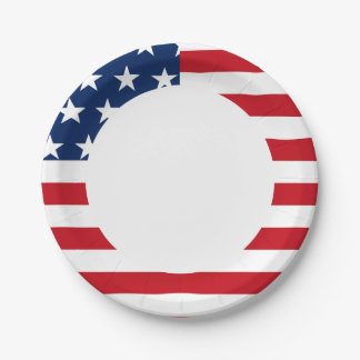 American Flag Stars and Stripes Patriotic Paper Plate