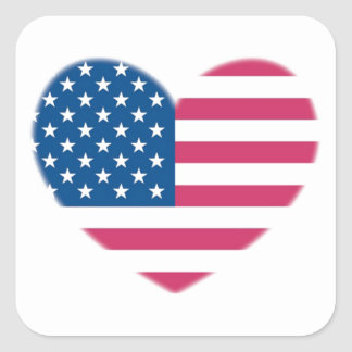 American Flag Square Stickers