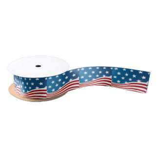American Flag style Satin Ribbon