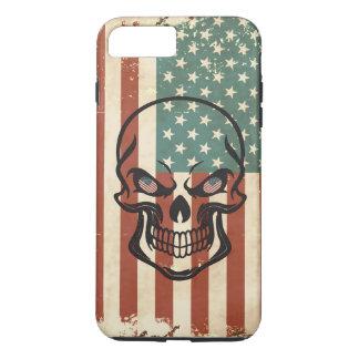 American Flag Sugar Skull Worn-Out Vintage Metal iPhone 7 Plus Case