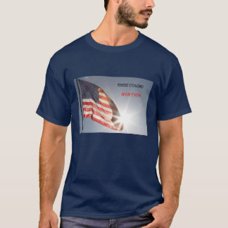 American flag tee shirt w/ These colors won't run.