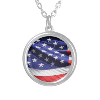 American-flag-Template Silver Plated Necklace