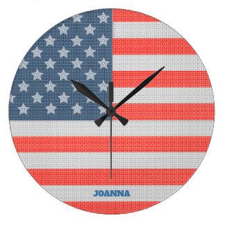 American Flag Texture Large Clock