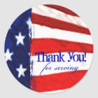 American Flag Thank You Classic Round Sticker