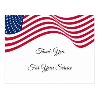 American Flag Thank You For Your Service Postcard