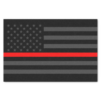 American Flag Thin Red Line Classic Symbol on Tissue Paper