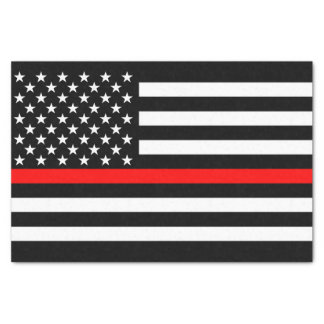 American Flag Thin Red Line Memorial Symbol on Tissue Paper
