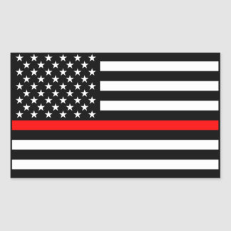 American Flag Thin Red Line Memorial Symbolic on Sticker