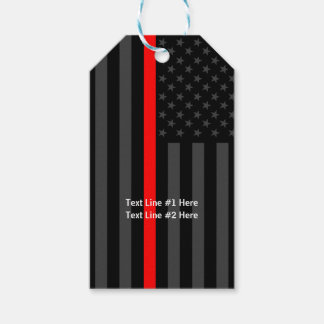 American Flag Thin Red Line Personalized on a Gift Tags