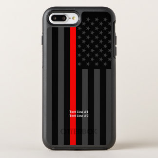 American Flag Thin Red Line Symbol Your Text on OtterBox Symmetry iPhone 8 Plus/7 Plus Case