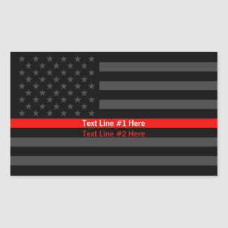 American Flag Thin Red Line Symbolic Your Text on Sticker
