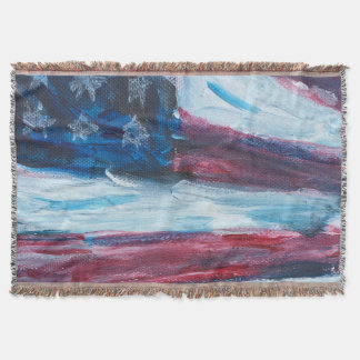 American Flag Throe Throw Blanket