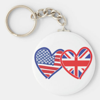 American Flag/Union Jack Flag Hearts Basic Round Button Keychain
