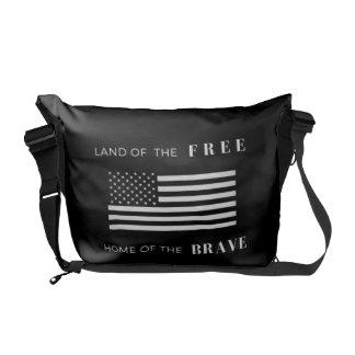 American Flag Unisex Messenger Bag   Black - White