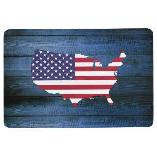 American Flag United States Silhouette & Faux Wood Floor Mat