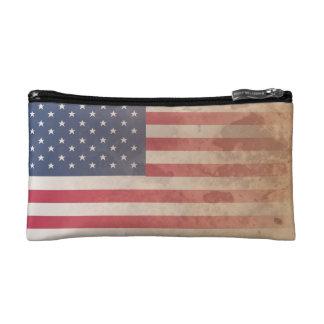 American Flag, US grunge patriotism (USA) Makeup Bags