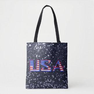 American Flag USA Blue Faux Glitter Tote Bag