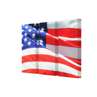 American Flag, USA Canvas Red white Blue, America Stretched Canvas Print