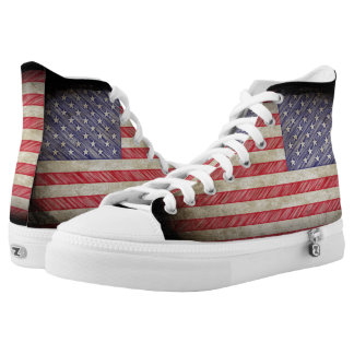 American Flag USA Grunge High Tops