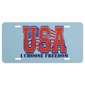 American Flag USA I Choose Freedom Patriotic License Plate