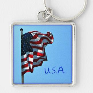 American Flag USA Keychain