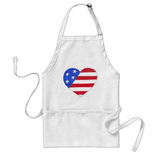 American Flag USA Patriotic July 4th Heart Love Standard Apron