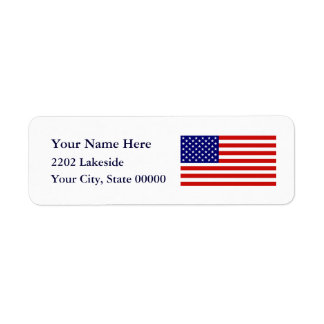 American Flag USA Return Address Label