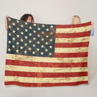 American Flag Vintage Distressed Fleece Blanket