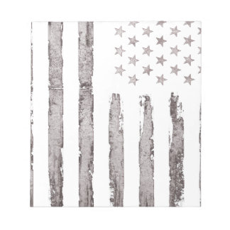 American flag Vintage Grey Notepad