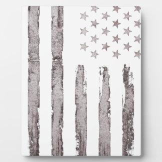 American flag Vintage Grey Plaque