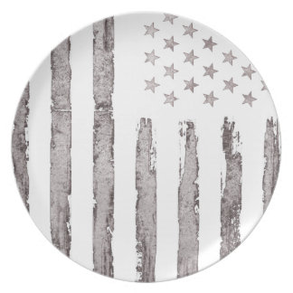 American flag Vintage Grey Plate