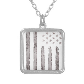 American flag Vintage Grey Silver Plated Necklace