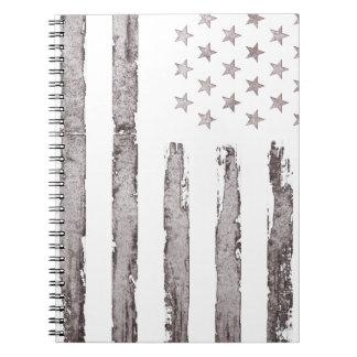 American flag Vintage Grey Spiral Notebook