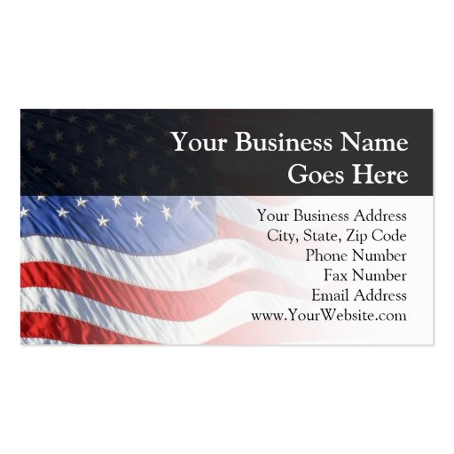 American Flag, Waving in Wind Business Card Template