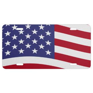 American Flag Waving License Plate