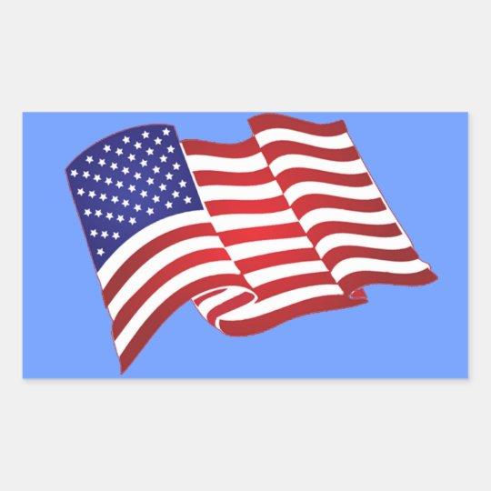 American Flag Waving Rectangular Stickers