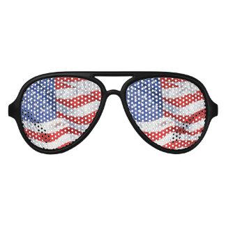 American Flag Waving Wind Patriotic USA Aviator Sunglasses