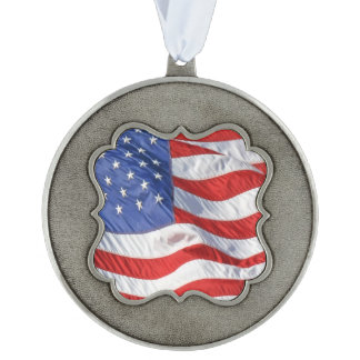 American Flag Waving Wind Patriotic USA Scalloped Pewter Ornament