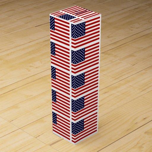 American Flag Wine Box with Custom Name