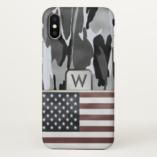 American Flag Winter Camouflage Monogram iPhone X Case
