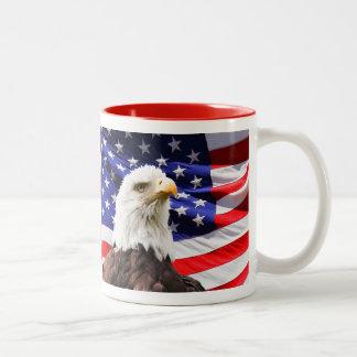 American Flag With American Eagle Two-Tone Coffee Mug