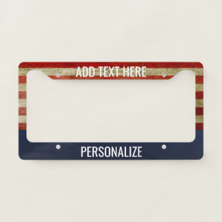 American Flag with Custom Add 2 Lines Text License Plate Frame