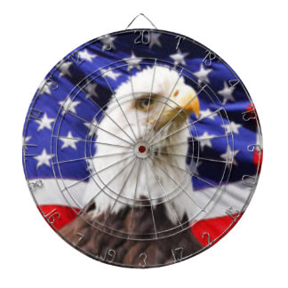 American Flag with Eagle Dartboard With Darts