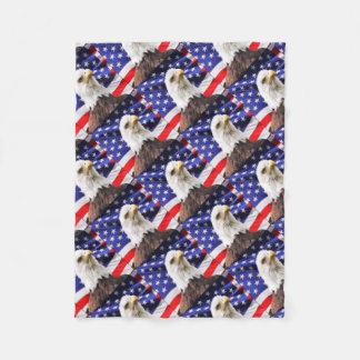American Flag with Eagle Fleece Blanket