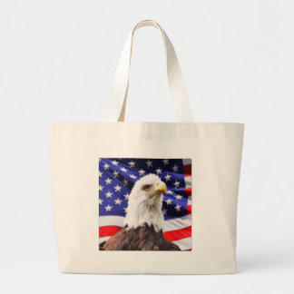 American Flag with Eagle Large Tote Bag